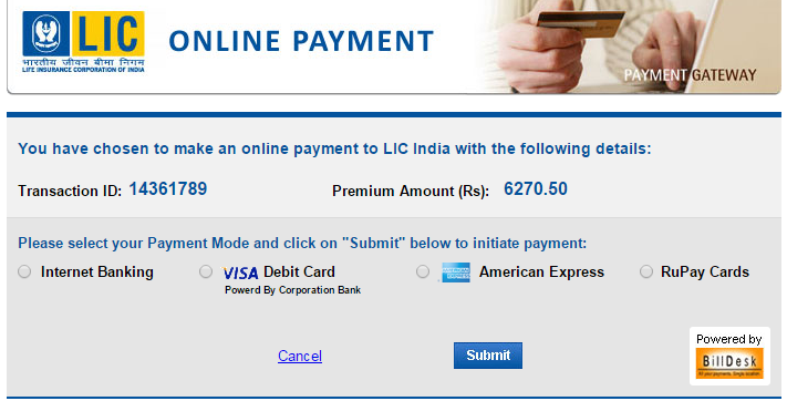 LIC online payment page