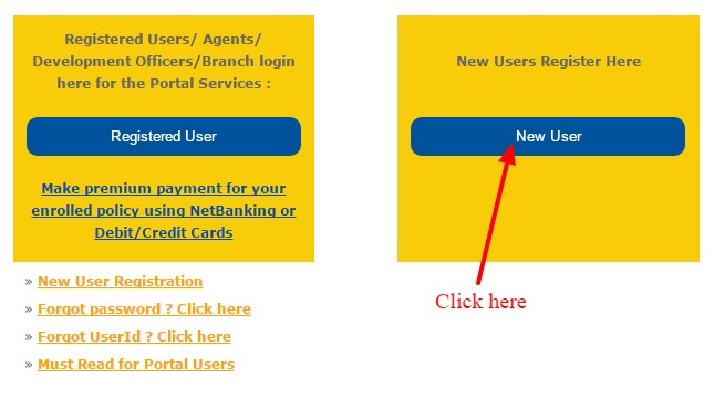 LIC New User Login