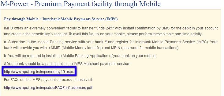 United India Mobile Payment page