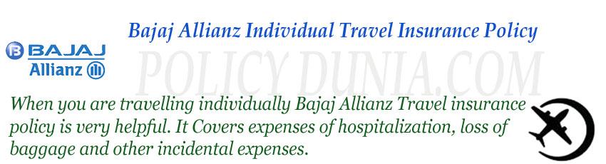 bajaj allianz Individual travel insurance image