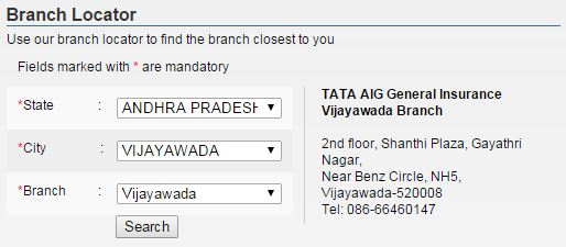 tata aig branch locator image