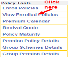 LIC policy status new user enrol policy image
