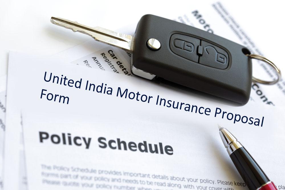 United India Motor insurance proposal form image