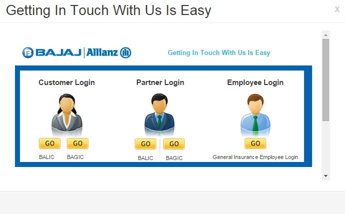 Bajaj Allianz Login Page