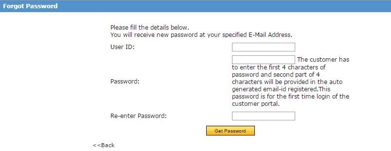Bajaj Allianz Login - forgot password