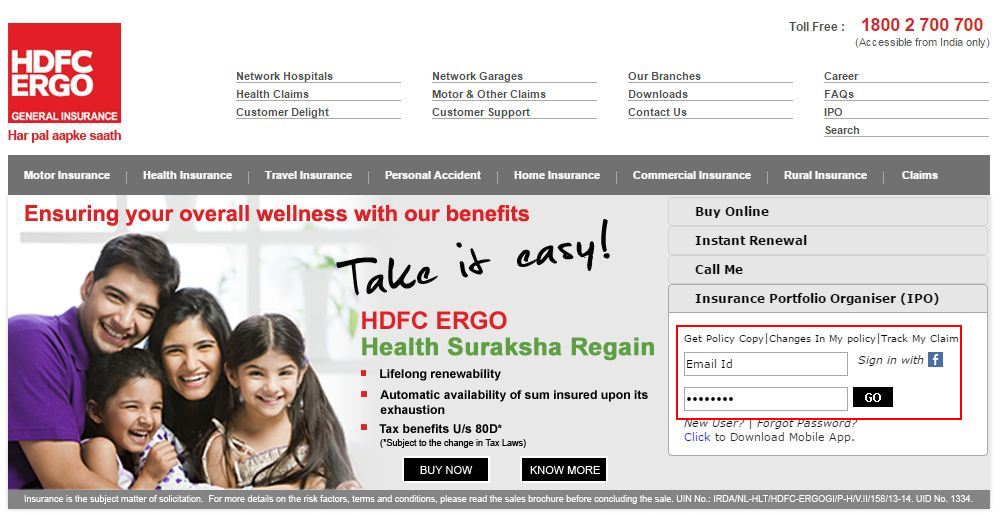hdfc ergo login page 1