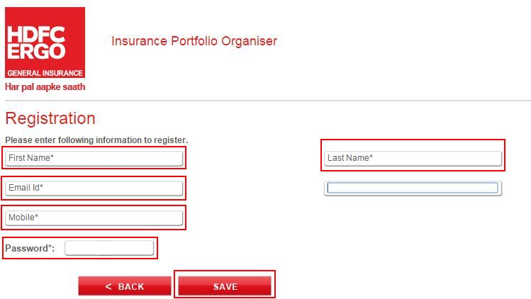 hdfc ergo registration page