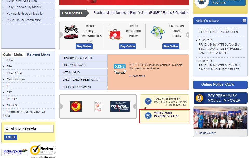 united india payment status