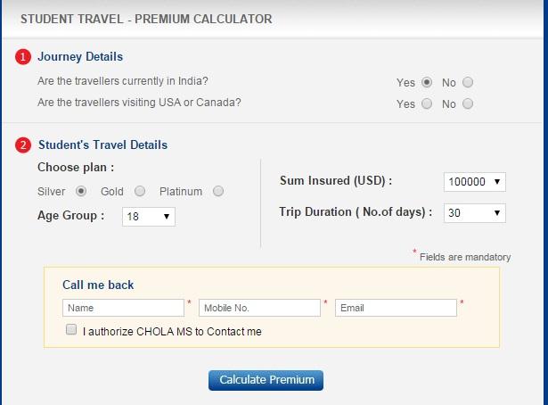 Chola Ms student travel calculator