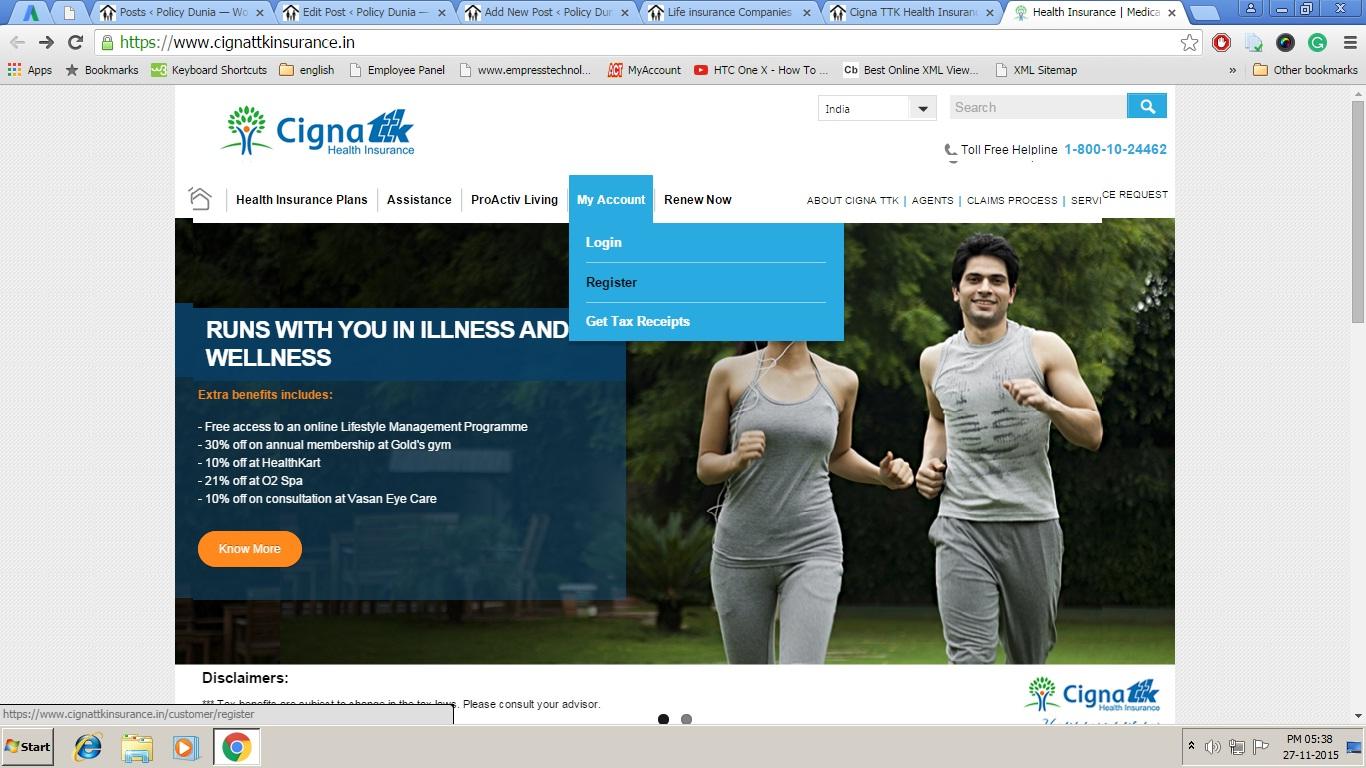 Cigna TTK Register Option