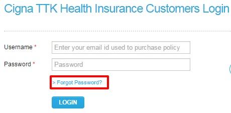 Cigna TTK forgot password