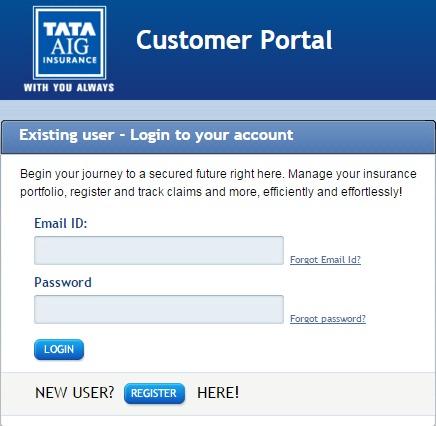 Tata AIG Login Page