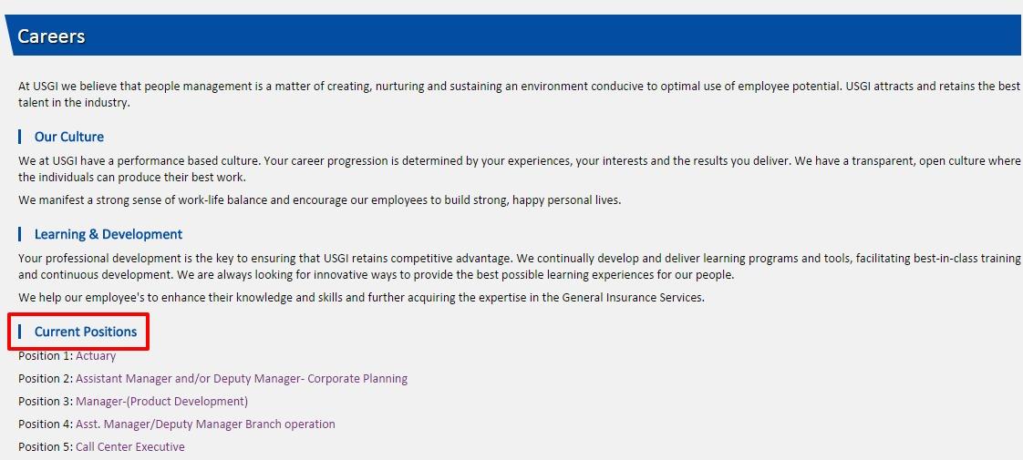 Universal Sompo Careers Page