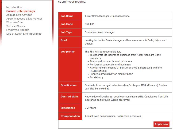Kotak Life Insurance Recruitment - Careers | Kotak Life Jobs