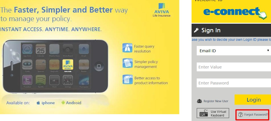 Aviva Life Insurance forgot password option
