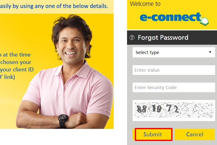 Aviva Life Insurance forgot password page