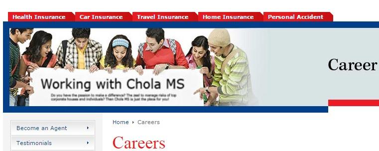Chola careers page