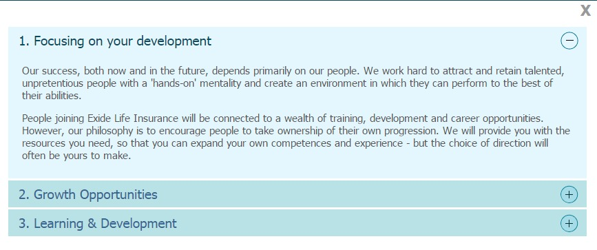 Exide Life Insurance Career Development