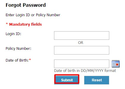Exide life forgot password page