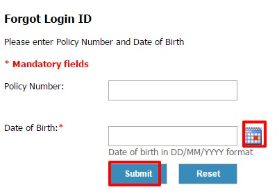Exide life forgot user id page