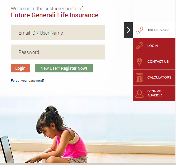 Future Generali Customer login page