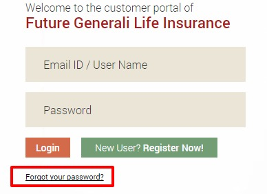 Future Generali LIfe Forgot password option