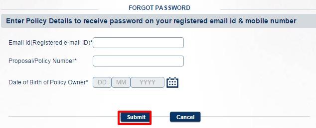 Kotak Life Insurance Forgot Password page