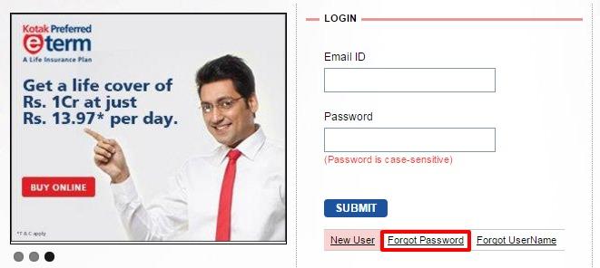 Kotak Life Insurance forgot password option