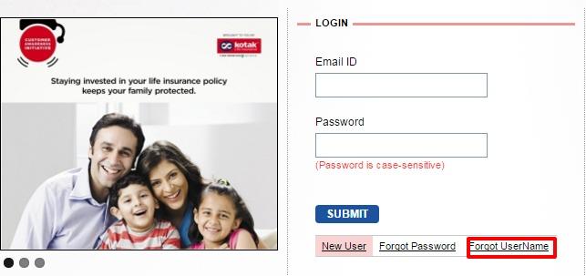 Kotak Life Insurance forgot username