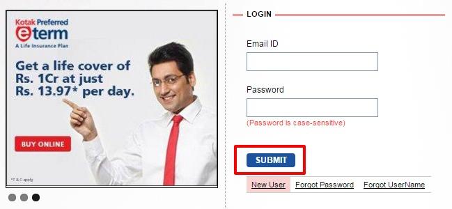 Kotak Life Insurance individual customer login page