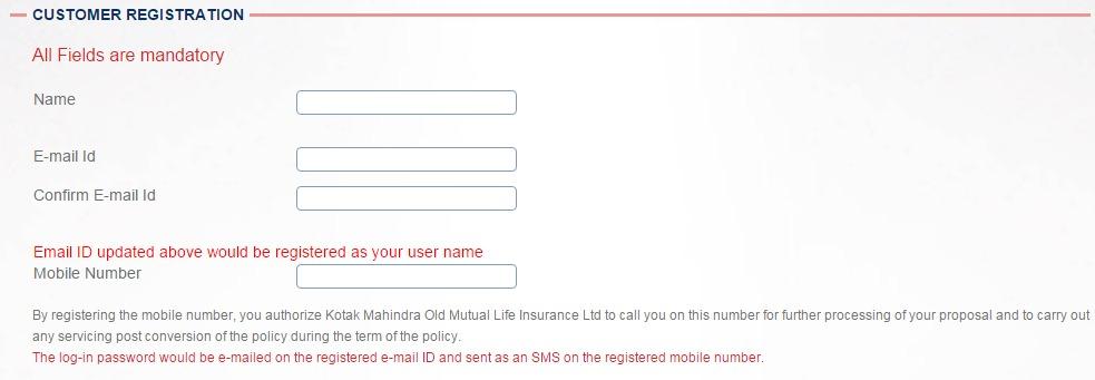 Kotak Life Insurance new user page1