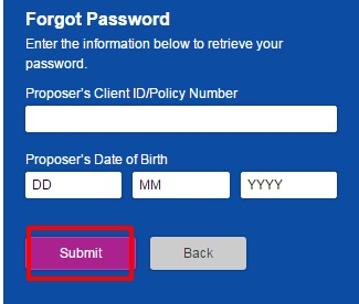 Reliance Life Insurance Forgot password page