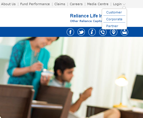 Reliance Life Insurance Login option1