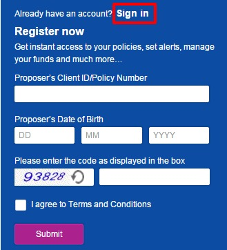 Reliance Life Insurance Sign in option
