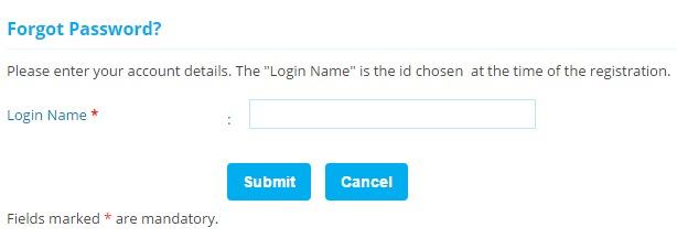 SBI Life Forgot password page