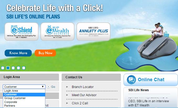 SBI Life Insurance Login Area